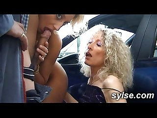 3 hitchhikker MILFs in Threesomes on road and in workshop