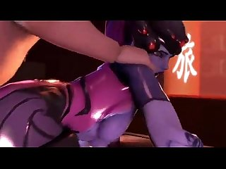 Widowmaker blowjob cum in mouth and get fucked hard