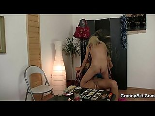 Blonde oldie sucks and rides his meaty dick