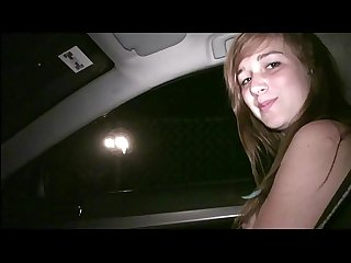 Young cute teen girl Alexis Crystal undressing in car public sex orgy gang bang