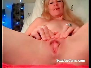 Blonde girl plays with pussy on cam superjizzcams com