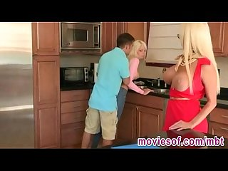 Horny stepmom fucks her stepdaughter and her boyfriend
