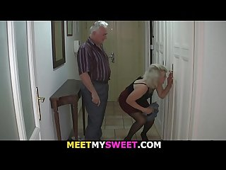 Old couple tricks blonde teen into old cock riding