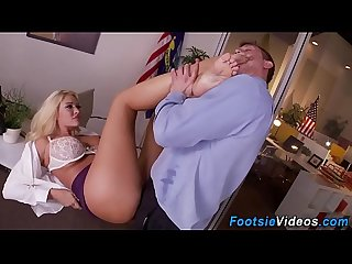 Office blondes feet jizzy