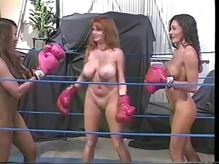 2 on 1 interracial naked boxing