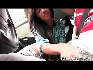 Super hot sexy gina gets fucked in the car by the dudes huge cock