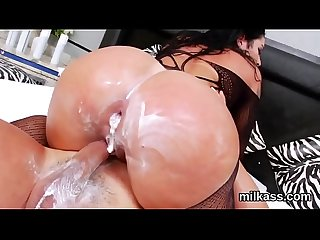 Hot lesbos fill up their huge butts with milk and burst it out