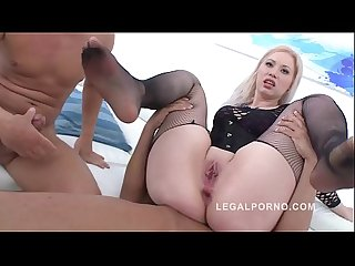 Big butt sensation nadine gets her asshole destroyed by two enormous dicks
