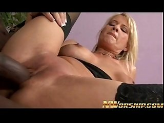 Milf blonde sucks and fucks a big black dick for interracial fun