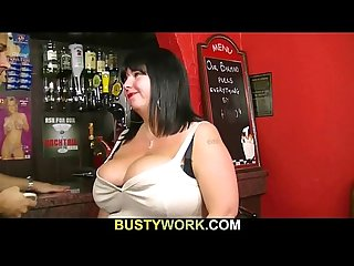 Fat barmaid is fucked at work