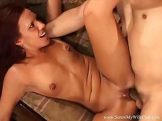 Skinny small tits swinger wife