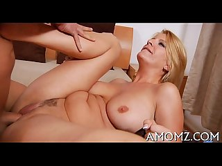 Nasty mommy rides to get orgasm