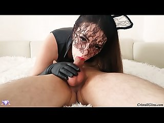 Sloppy deep throat blowjob and swallow cum cristall gloss