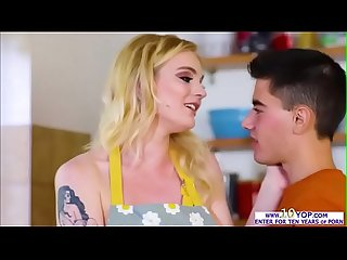 Cute blonde babe Carly Rae takes big cock in the kitchen