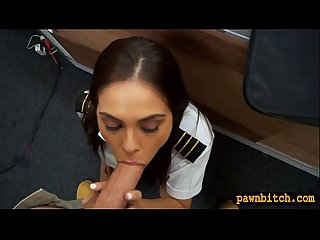 Stewardess sucks and fucked by pawn man in pawnshops toilet