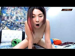 Petite Asian cat girl rides dildo for multiple orgasms