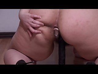 Double penetration for double orgasm. Beautiful bbw fucks anal and hairy pussy and shakes..