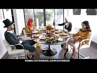 FamilyStrokes - Stepdaddy Gets Blowjob on Thanksgiving