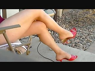 My bare legs in red mules 4 min