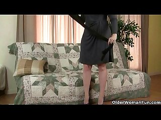Pantyhose ignite mom S lust for solo sex
