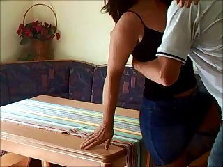 Hot milf gets fucked on table