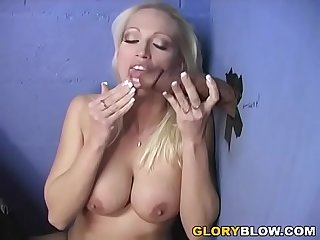 Black cock slut Nikki hunter visits gloryhole with a cuckold