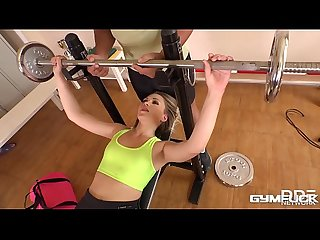 Gym fuck threesome makes Selvaggia cum during hardcore double penetration