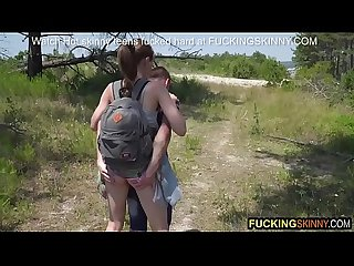 Skinny couple goes hiking and ends up fucking in the grass