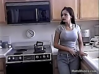 Hot aria giovanni cools off by pouring milk all over her face and tits