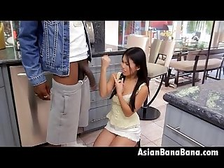 Asian cindy starfall sucking big black dong in kitchen