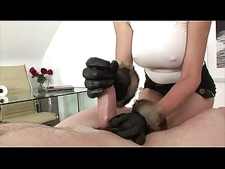 Handjob whore coaxes cock