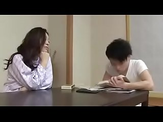 Japanese stepmom with son drink and fuck