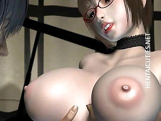 3D hentai girl in glasses slurp cum