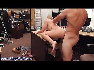 Amateur blonde fucks cock