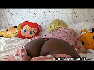 Slow motion sleeping step sister in pink hello kitty pajamas brown ass and pussy pulled down by perv