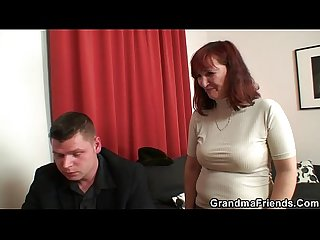Poker playing granny is fucked by two guys