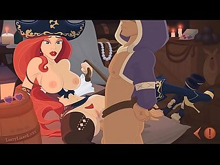 Erotic pirate wench miss fortune with big tits forces her captured slave to fuck her pussy and ass u