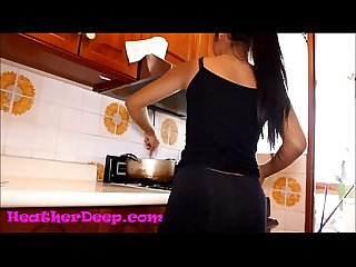 HD Heather Deep Scared in Kitchen gives deepthroat creamthroat throatpie