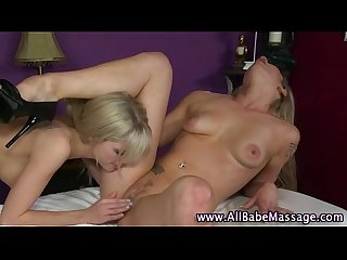 Lesbian masseuse and client pussy licking action