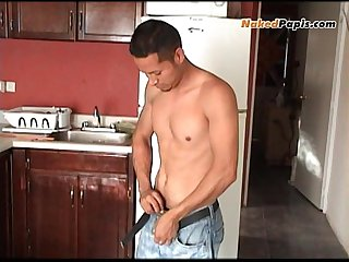 Sexy young latino stoking his big cock