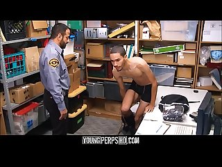 Black twink caught stealing fucked by bear security guard