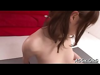 Glamorous asian charms with wild blowbang to receive deep anal