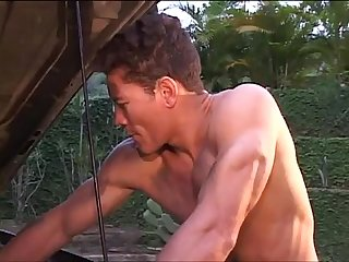 Sexy Mechanics blowjob rimming and ass fucking outside