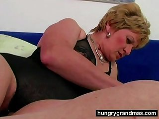 Horny grandma and her big dildo