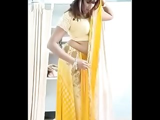 Swathi naidu changing saree and getting ready for romantic short film shooting
