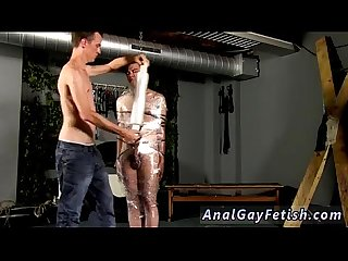 Sex oral gay boy Cristian is nearly swinging, wrapped up in wire and