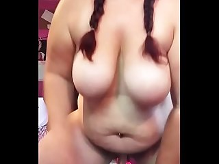 Chunky Milf With Big Tits Fucking her Dildo