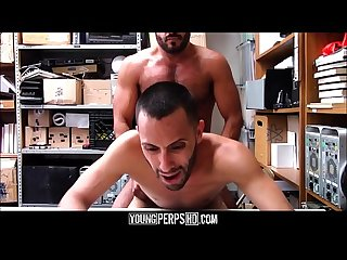 Straight Latino Twink Shoplifter Blackmailed And Fucked By Gay Muscle Bear Security Officer