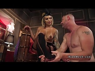 Busty tranny anal bangs male slave