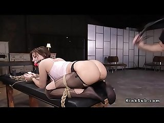 Gagged slave in pantyhose anal fucked